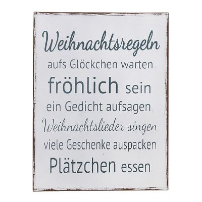 schild weihnachtsregeln shabby chic holzschild weihnachten. Black Bedroom Furniture Sets. Home Design Ideas