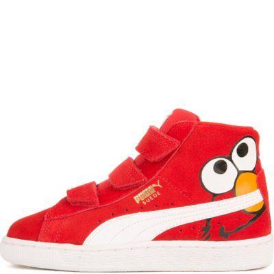Puma Kids Suede Mid Sesame Elmo V Casual Velcro Sneaker