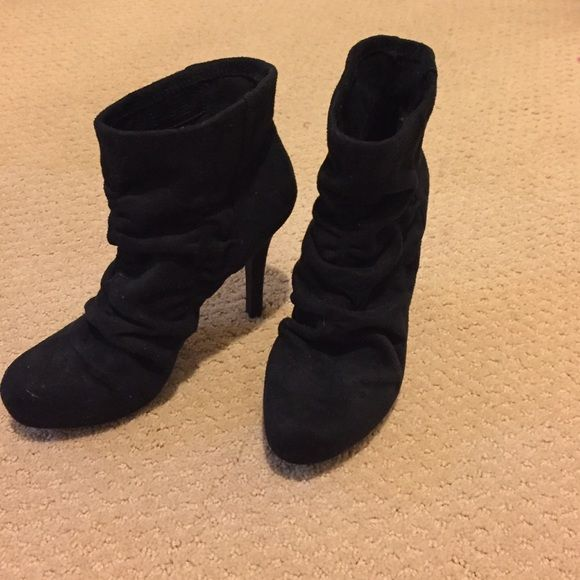 BCBGeneration black booties Black BCBGeneration suede booties. Has ruching effect on the top and a nice skinny heel. Perfect bootie to dress up any outfit. NEVER WORN! BCBGeneration Shoes Ankle Boots & Booties