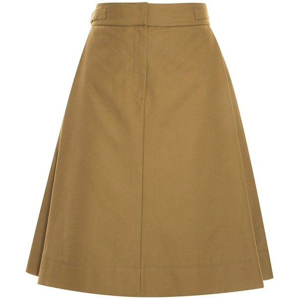 Alexander Wang A-Line Skirt (6 640 UAH) ❤ liked on Polyvore featuring skirts, brown skirt, knee length pleated skirt, pleated a line skirt, cotton skirts and a-line skirt