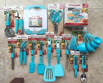 Kitchenaid Turquoise Aqua Blue 27 Pc Set Prep Bowls Can
