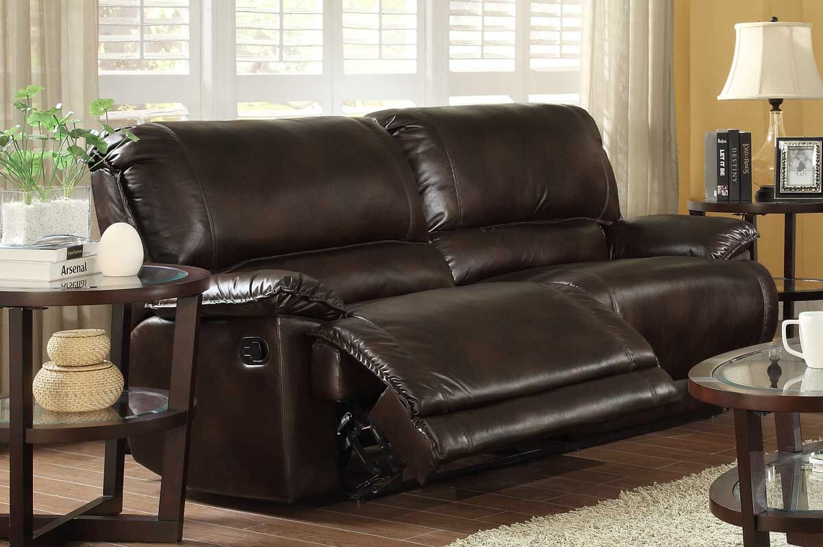 Homelegance elsie double reclining sofa dark brown polished microfiber home to do list Brown microfiber couch and loveseat