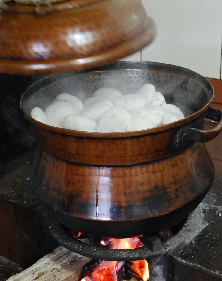 Cooking Appam In A Copper Pot Kerala Kitchen In India