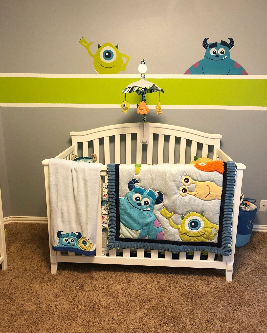 Lincoln S Monsters Inc Themed Nursery Monstersinc Nursery Disney Nursery Themes Monsters Inc Nursery Nursery Room Boy