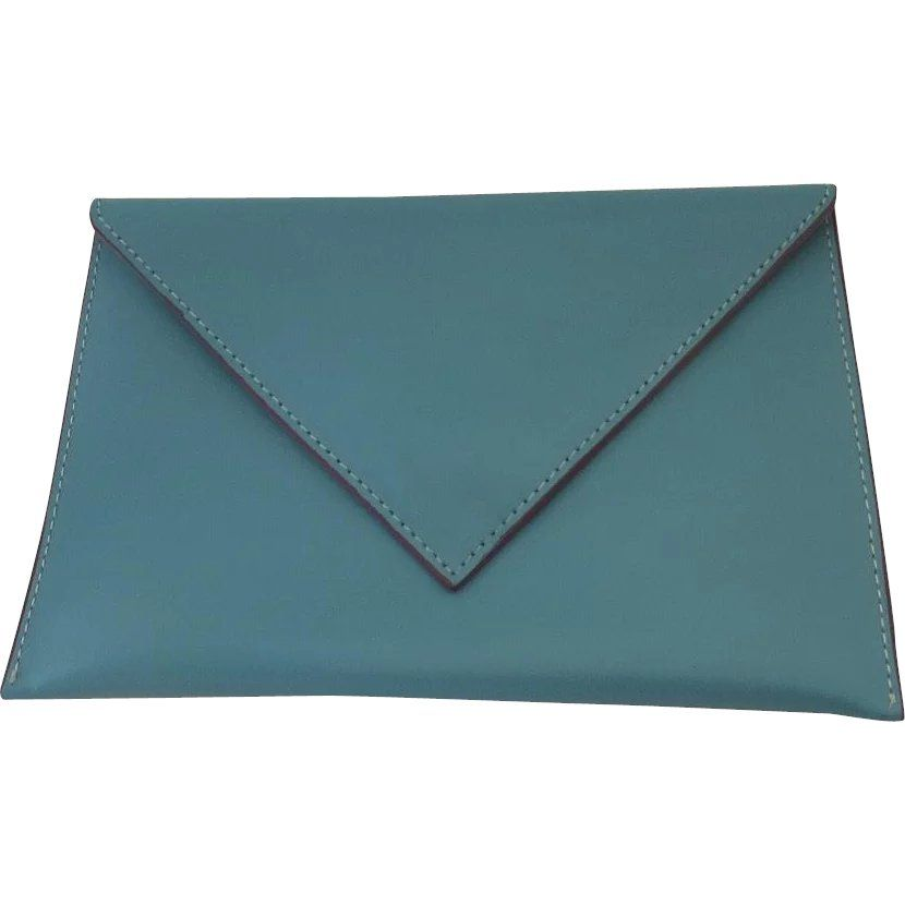 275041e7256 BAEKGAARD Tiffany Blue Teal Pink Trim Envelope Style Clutch -- found at  www.rubylane.com #vintagebeginshere #Mondayblues