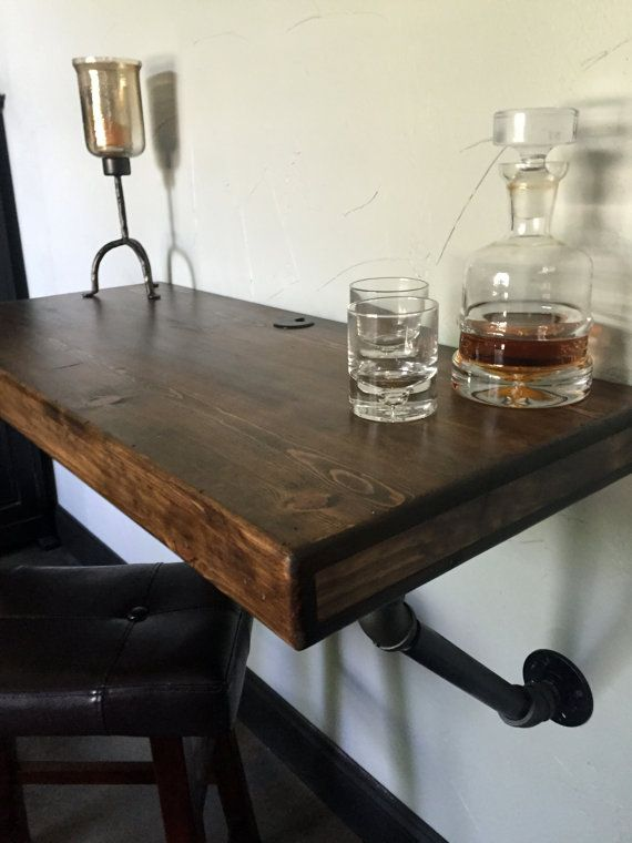 Rustic Industrial Floating BarDesk With Pipe By