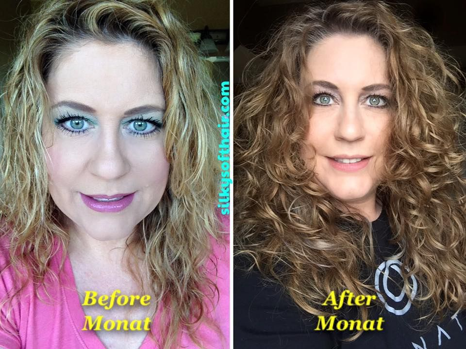 My naturally curly hair!!!! My Monat before & after photo