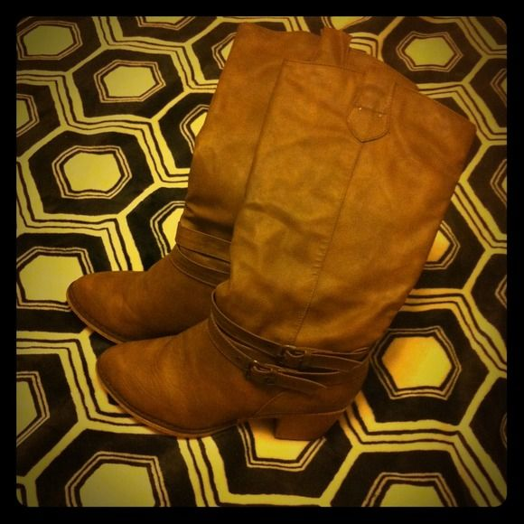 Brown heel boots. Tall brown boots with a buckle. A little heel as shown. Charles Albert inspired! Very comfy and only worn two or three times! charles albert Shoes Heeled Boots