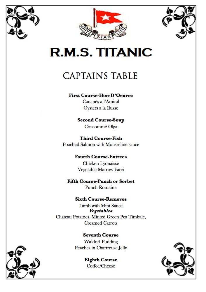 Cooking With The Movies Titanic Details Pinterest - Captains table menu