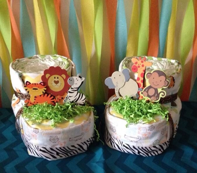 Diaper Booties I made for Jungle Safari Theme Baby Shower