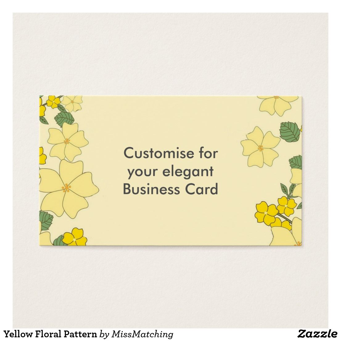 Yellow Floral Pattern Business Card