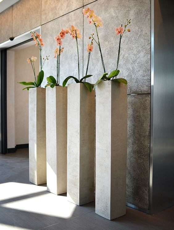 How To Decorate With Tall Indoor Plants Tall Indoor Plants Tall Planters Concrete Decor