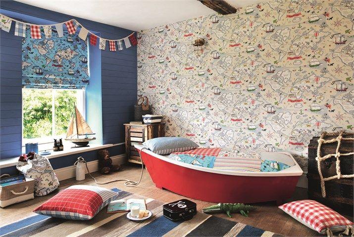 Behang Kinderkamer Vogeltjes : Little sanderson abracazoo wallpapers treasure map wp main 02