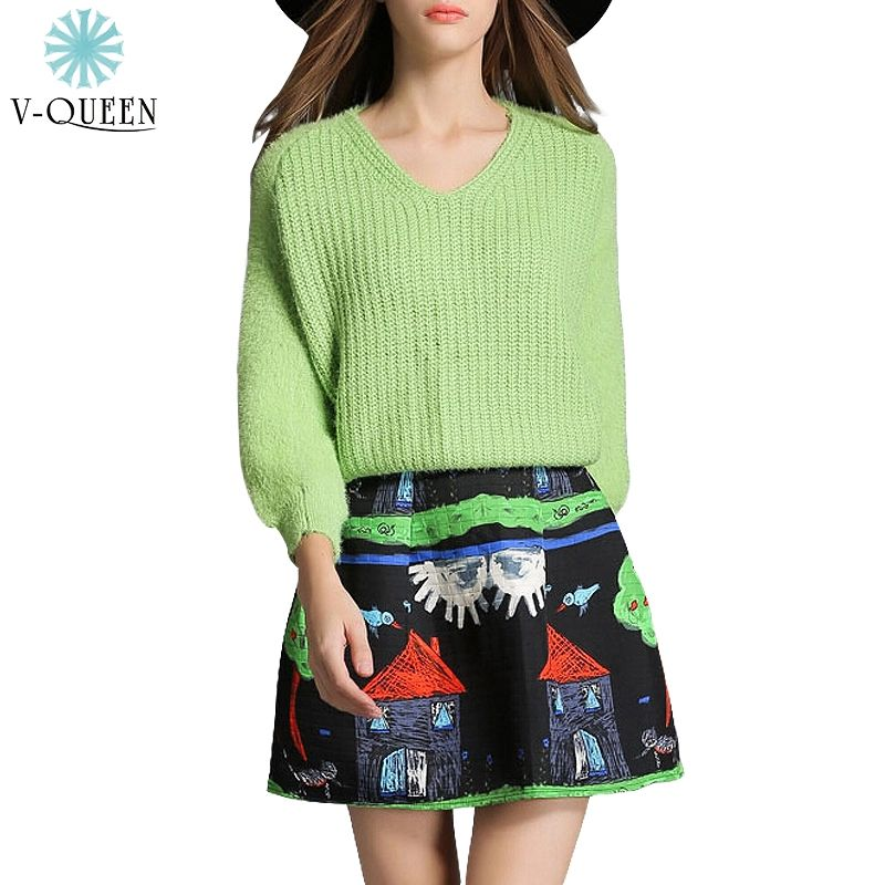 V-QUEEN New Green Long Sleeve V-Neck Knitted Sweater And Vintage Graffiti Painting Print Mini Skirts Flower Winter Sets B1512052