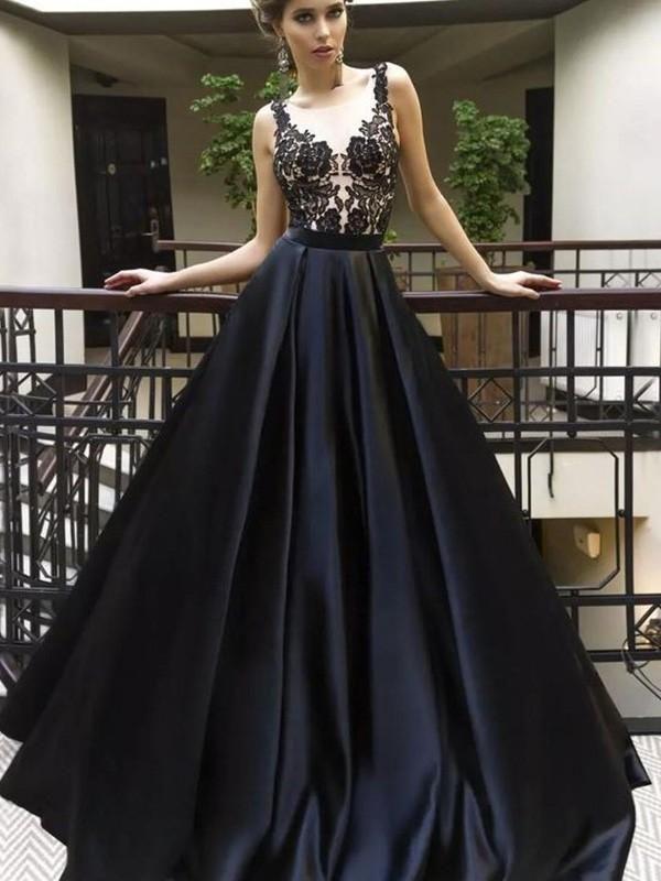 Elegantes Abendkleid, Fashion Sweep / Pinselzug A-Linie / Princess-Linie Ärmellos Stehkragen Satin Kleider YB33PO1174   – white prom dresses