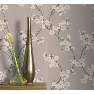Superfresco Taupe Charcoal Cherry Blossom Wallpaper At Debenhams Mobile Cherry Blossom Wallpaper Home Wallpaper Cherry Blossom Decor