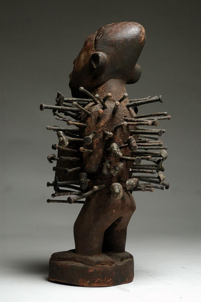 Bakongo, nail, fetish, yombe, vili, kongo, african art, africa, african art, gallery, ethnographic, antique, tribal, david malik, african atribal art, artenegro, power figure,