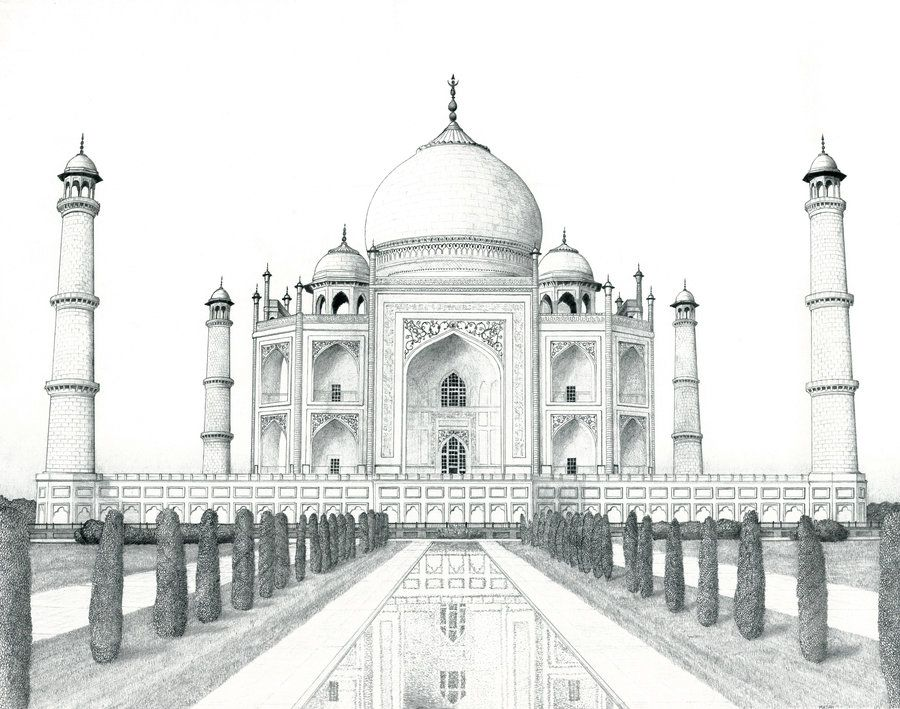 Landscape Drawings In Pencil Taj Mahal By Matanchaffee With