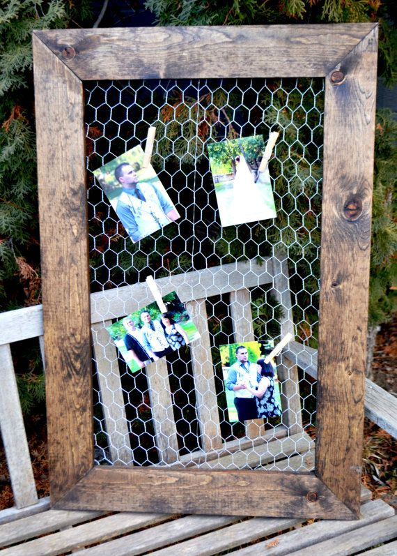 """Chicken Wire Frame 24""""x36"""",Rustic Frame, Picture Frame"""