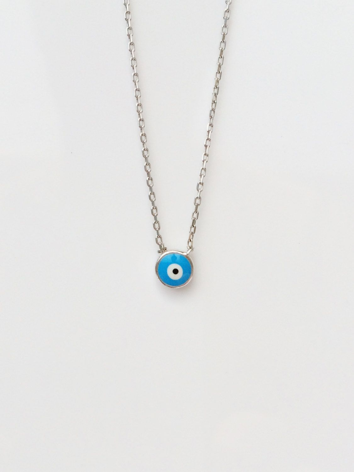 Tiny evil eye necklace in real 925 sterling silver safe to wet eye sale eye necklace evil eye necklace protection jewelry tiny necklace layering necklace eye jewelry silver evil eye by luckycharmsusa on etsy aloadofball Image collections