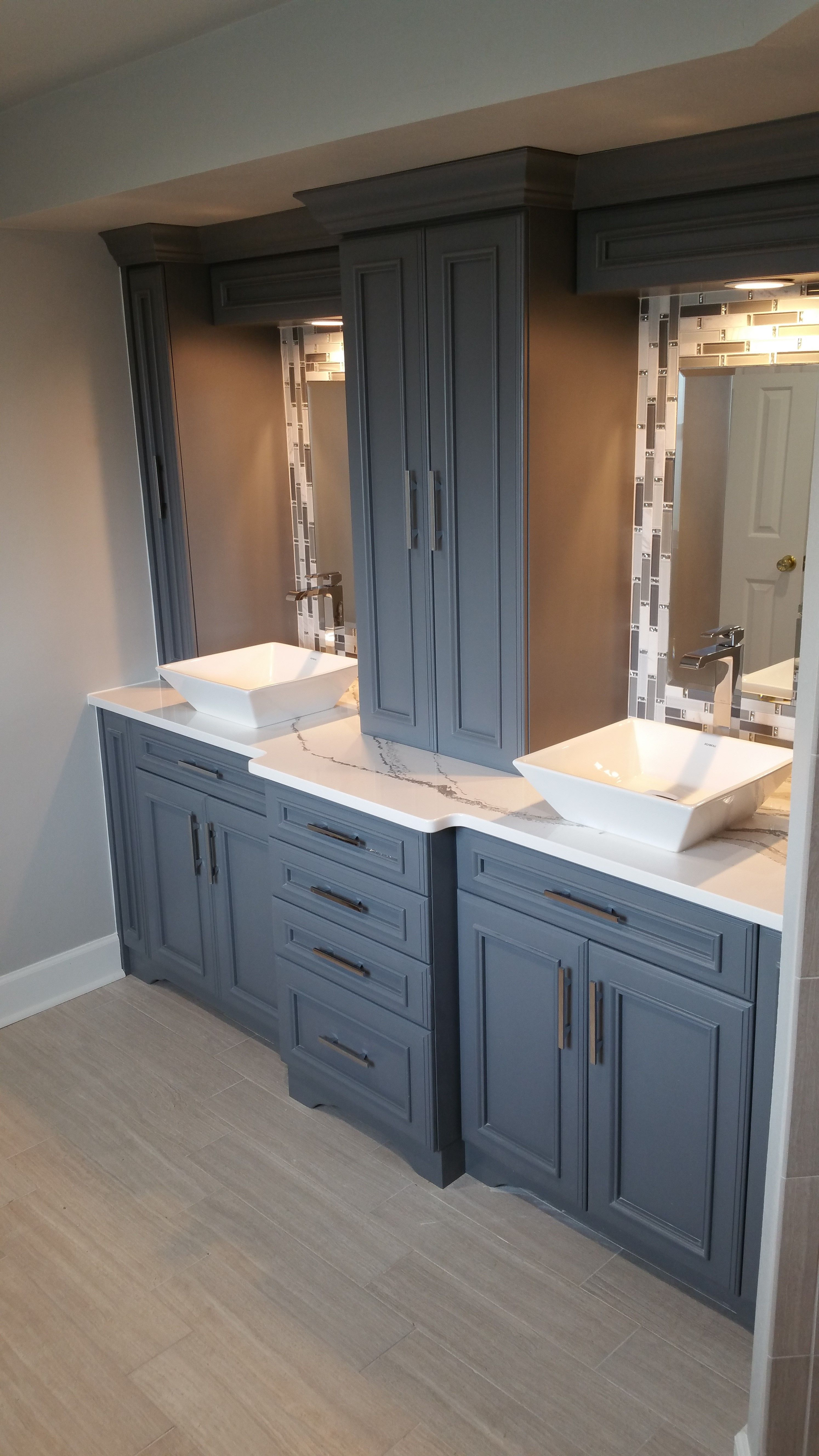 The Munsey Master Bath After Custom Cabinetry With Cambria