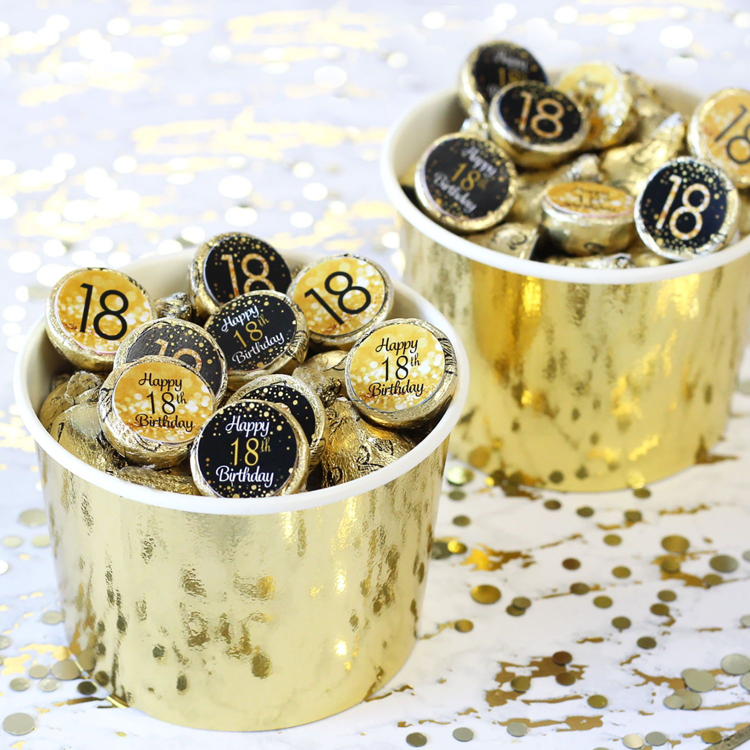 Black And Gold 18th Birthday Party Favor Stickers 180 Count 18th Birthday Party Birthday Party Favors 21st Birthday Party Favors
