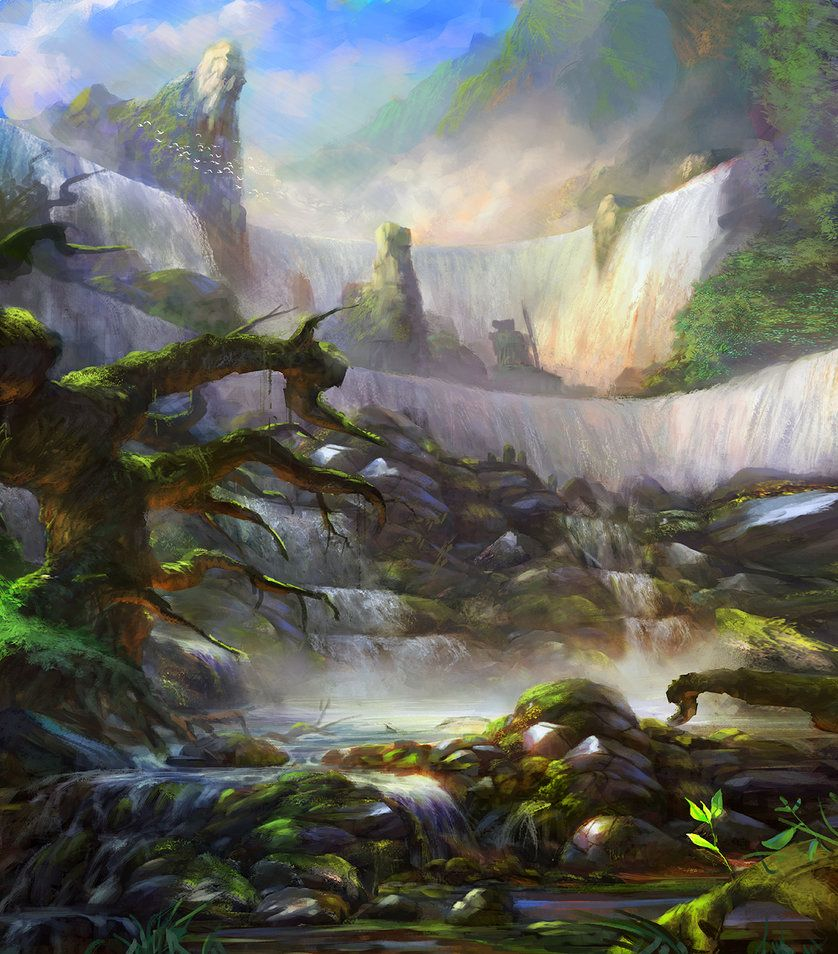 Concept enviro - Waterfall by Grosnez on DeviantArt