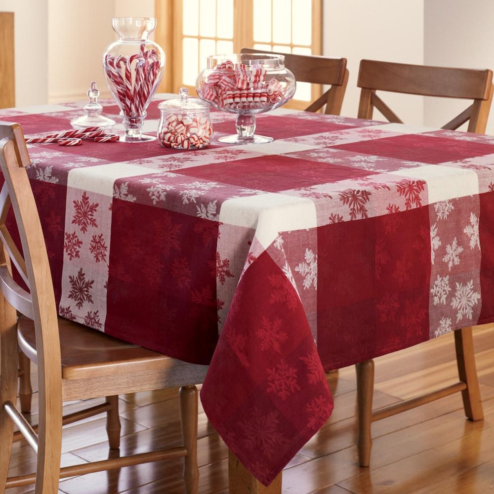 St Nicholas Square Christmas Snowflake Jacquard Tablecloth 60