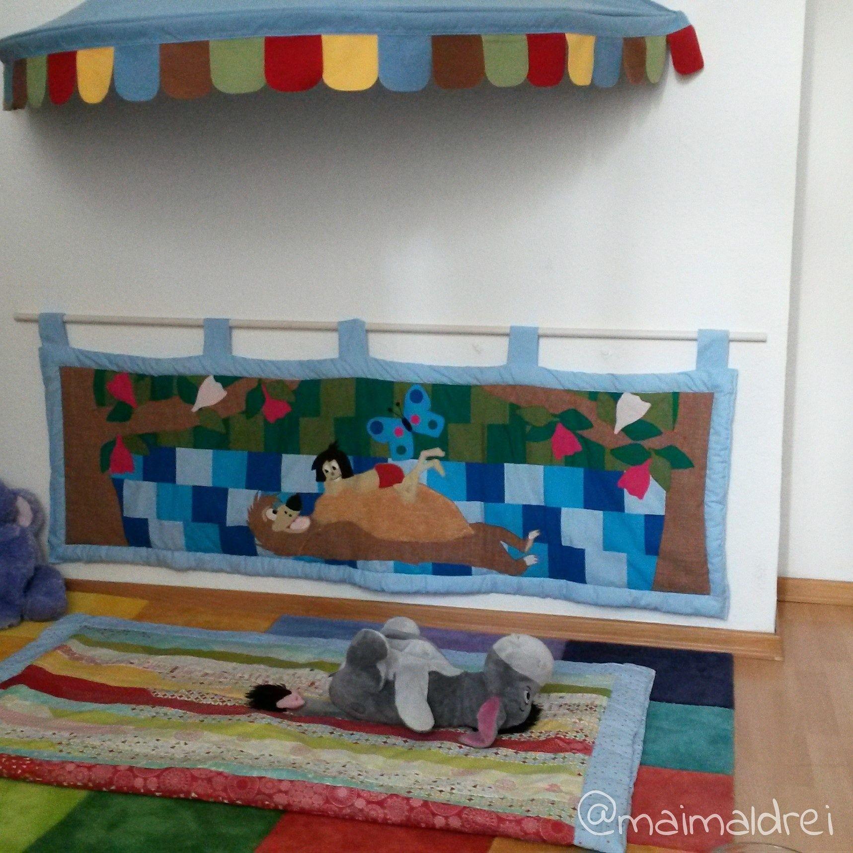 Dschungelbuch diy wandteppich n hen stoff kinderzimmer kuschelecke wie es geht auf www - Diy kinderzimmer ...