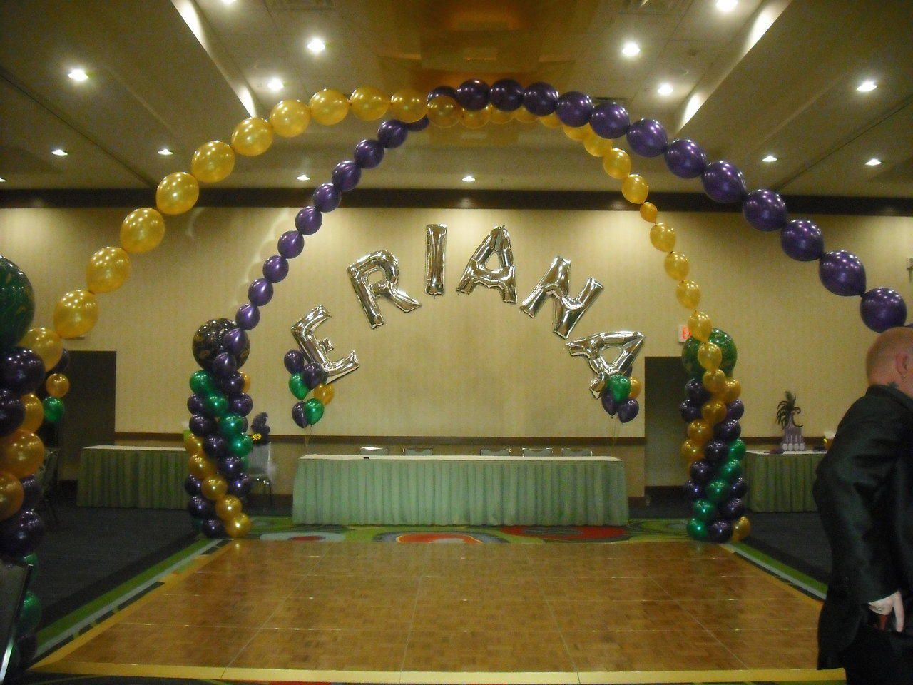 quinceanera head table decorations Mylar Name Arch over Head