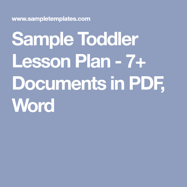Sample Toddler Lesson Plan   Documents In Pdf Word  Lesson