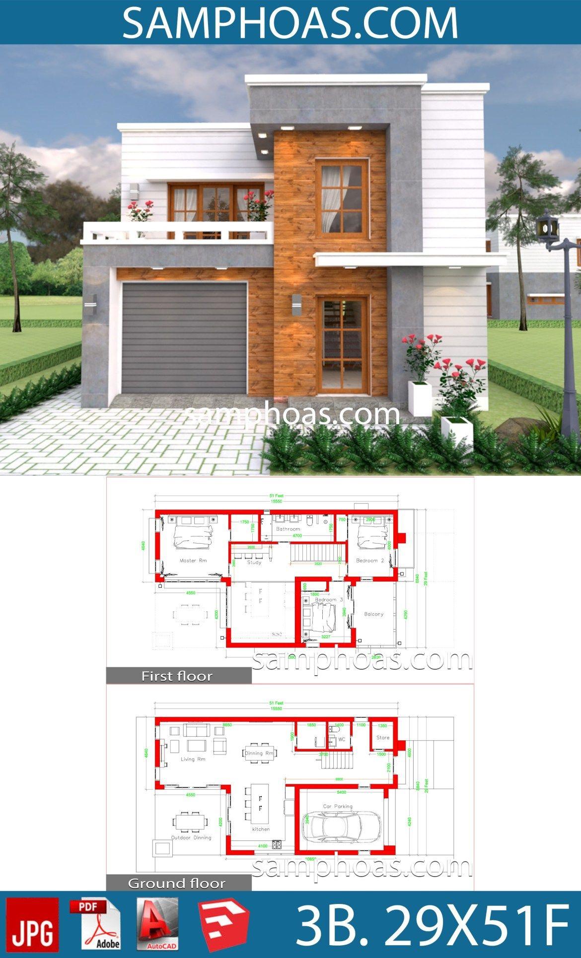 House Design Plans 29x51 Feet With 3 Bedrooms Samphoas Plansearch Beach House Floor Plans Architectural House Plans Small House Design