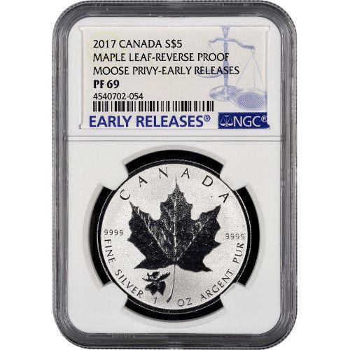 2015 Canadian Maple Leaf Privy $5 E=mc2 REVERSE PROOF NGC PF69 1 oz Silver Eagle
