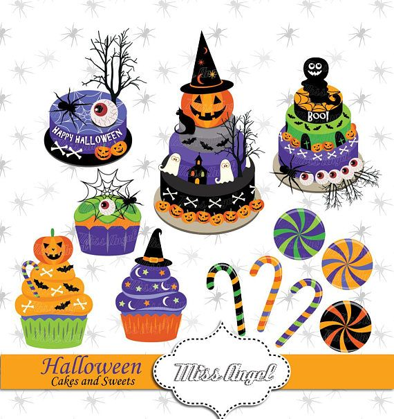 Halloween Cakes, candies, cupcakes clip art Digital Halloween party - decorating halloween cakes