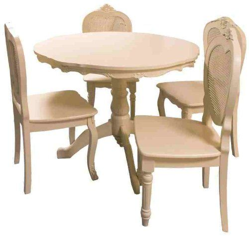French Style Shabby Chic Cream Round Table