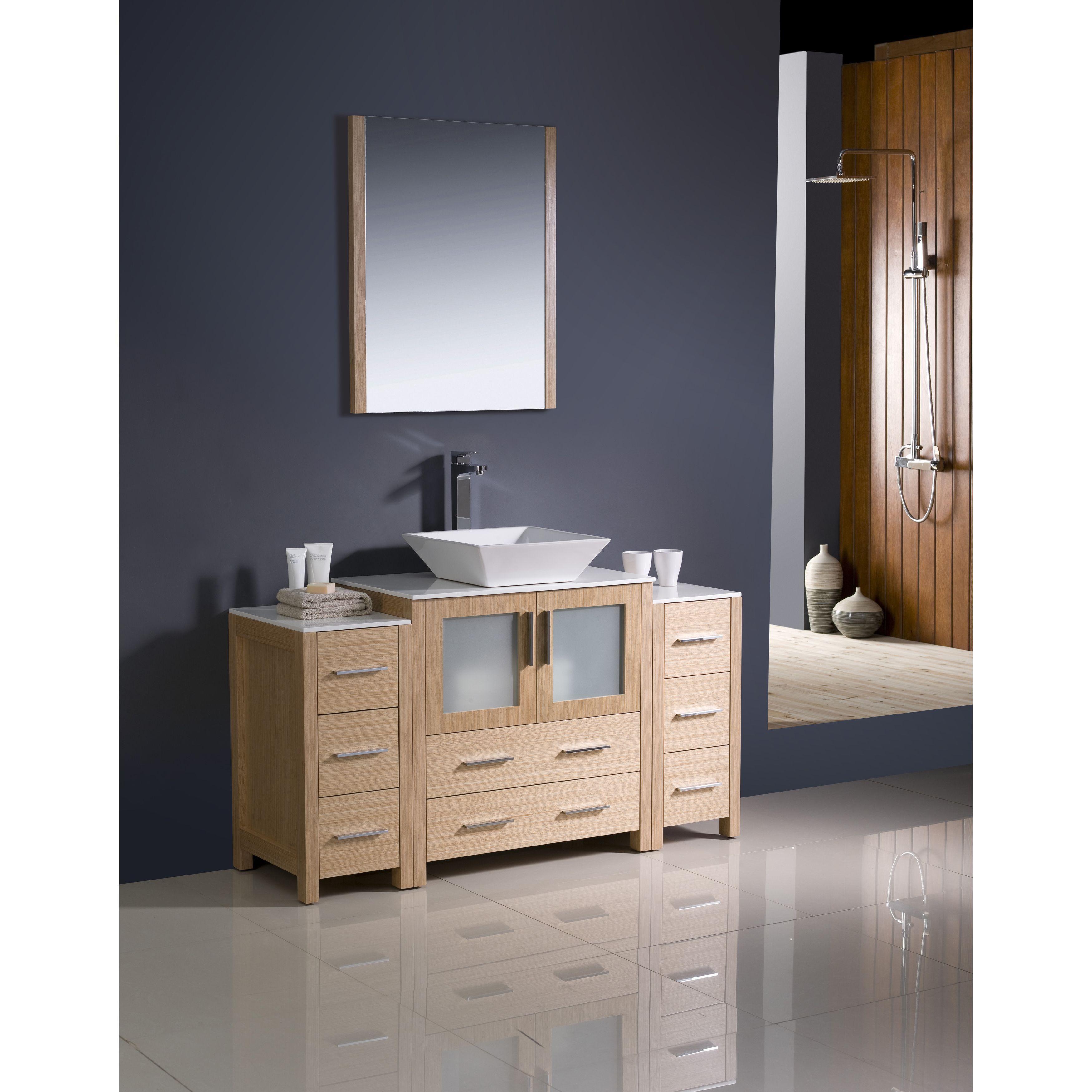 Fresca Torino 54 Inch Light Oak Modern Bathroom Vanity With 2 Side