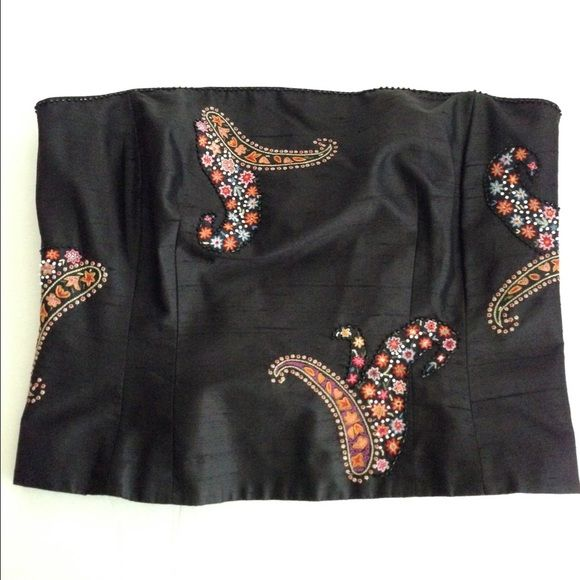 Ann Taylor petites silk black strapless top Ann Taylor petites silk black strapless top- NWOT! Pretty embroidered and beaded detailing throughout! Ann Taylor Tops