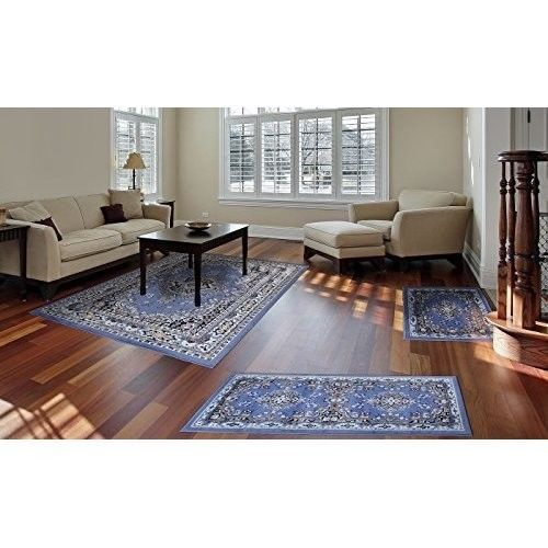 3 Piece Living Room Rug Set Super Soft Area Carpets Bedroom Home Decoration  Blue #3PieceLivingRoomRugSet