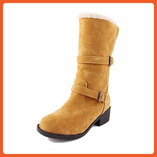 Women's Solid Low-Heels Round Closed Toe Imitated Suede Buckle Boots Yellow 34