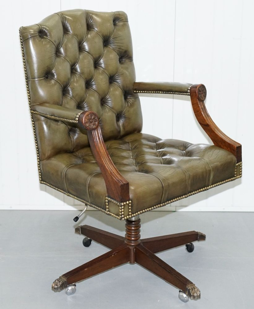 RARE 1960u0027S BEVAN FUNNELL DIRECTORS GREEN LEATHER CHESTERFIELD CAPTAINS  CHAIR
