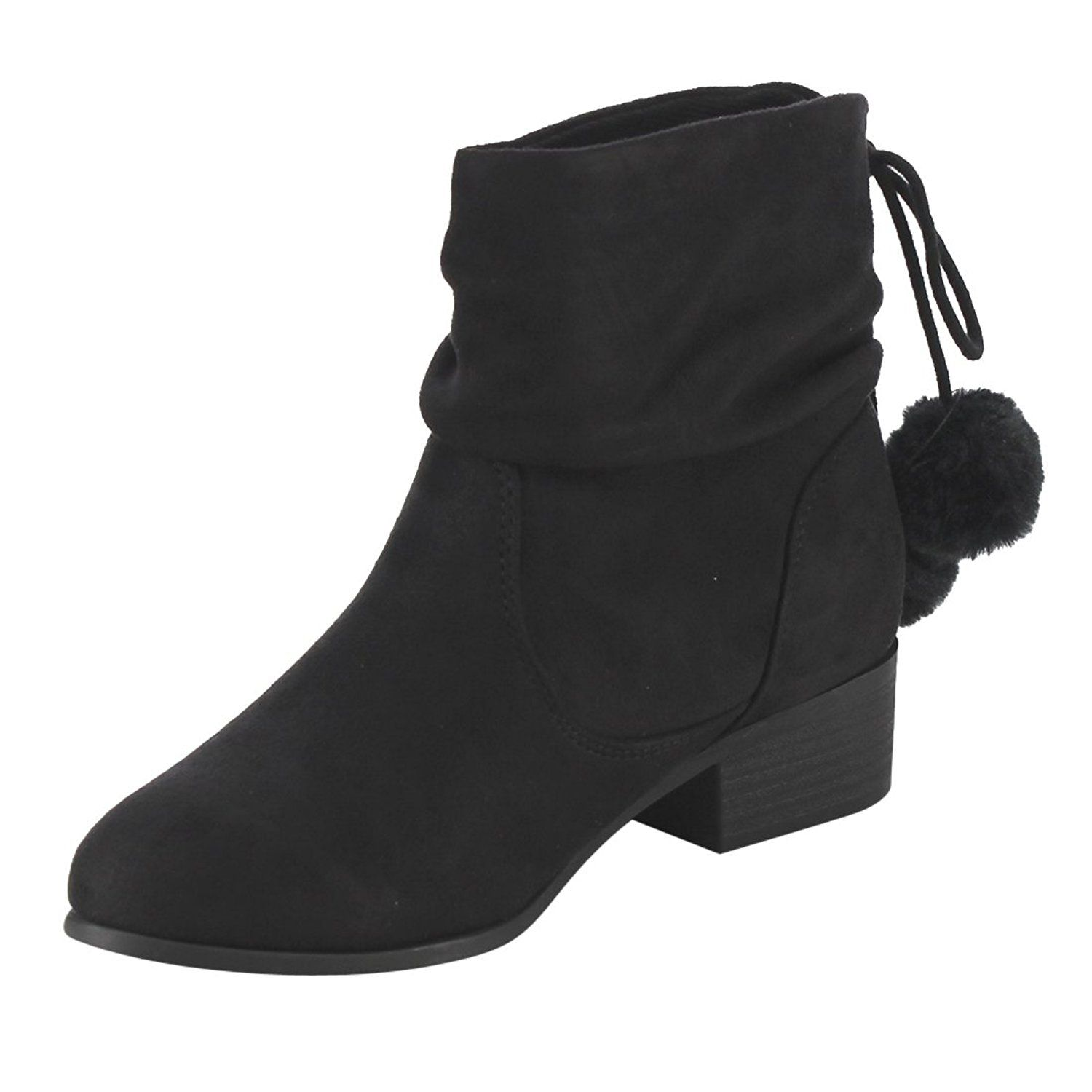 FF26 Women's Slouchy Pom Pom Back Lace Up Block Heel Ankle Booties