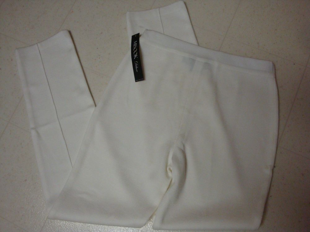 New Exclusively Misook White Acrylic Knit Slim Pants Xs Extra Small Nwt Pant Misook Ebay Misookshop Slim Pants Misook Pants