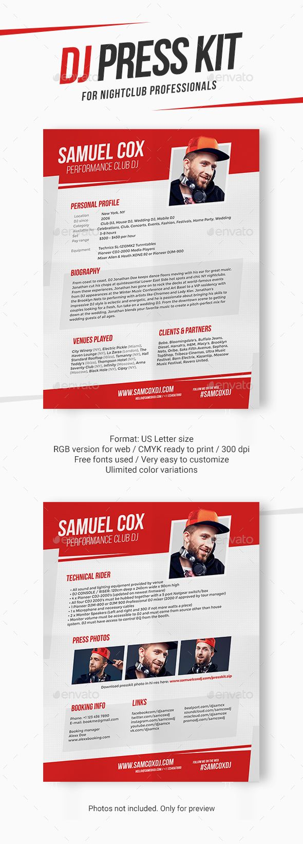 DJ Press Kit / DJ Resume / DJ Rider PSD Template | Press kits, Psd ...