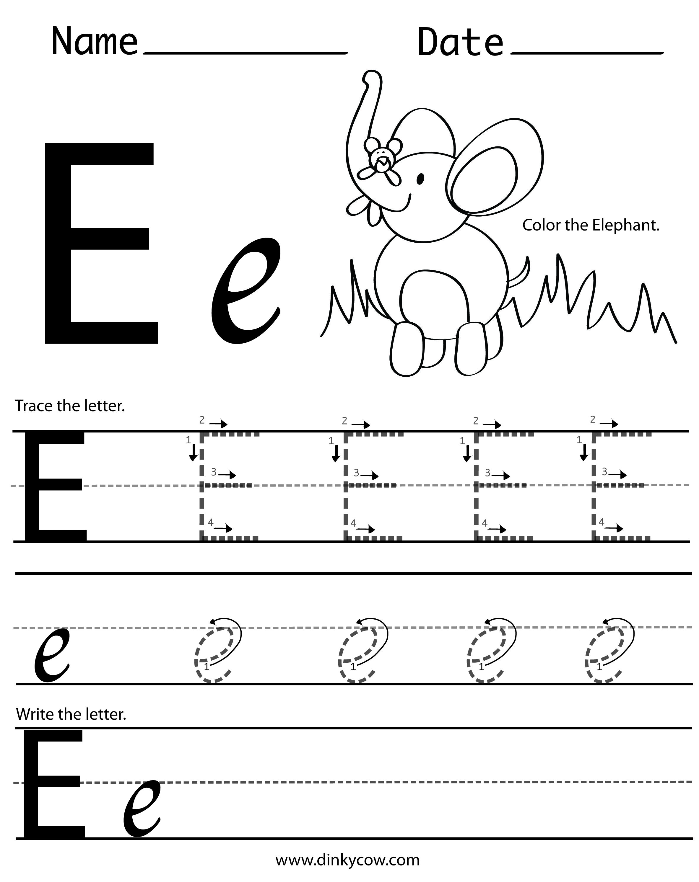 Worksheets Letter E Worksheets For Preschool Opossumsoft T
