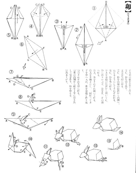 Origami Bunny Rabbit Tutorial Diagram