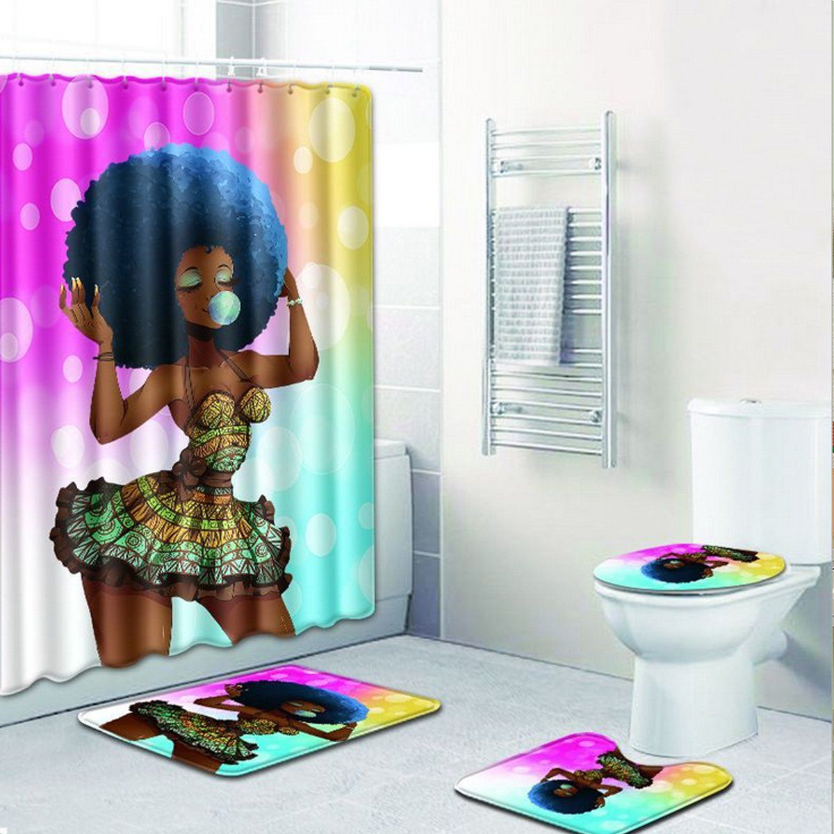 4PCS African Girl Bathroom Shower Curtain Non Slip Toilet Cover Rug Bath Mat Set