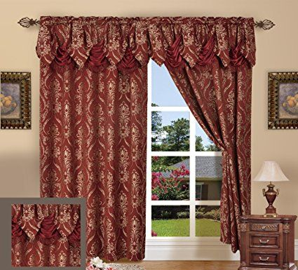 Curtain Panel Set with Attached Valance Elegance Linen Jacquard Set of 2 Brown Gordijnen, zonwering