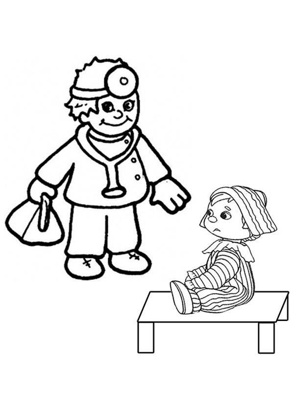 Free Online Doctor and Child Colouring Page  Kids Activity Sheets
