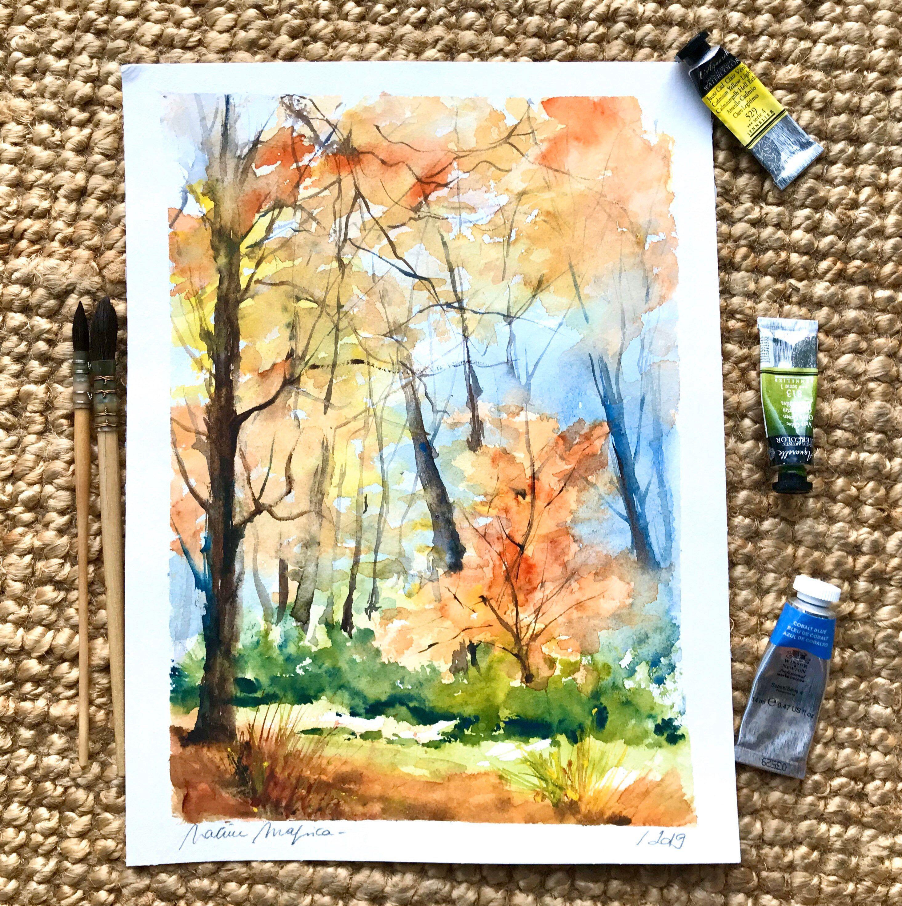 Aquarelle Peinture Originale Foret En Automne Arbres Woodland