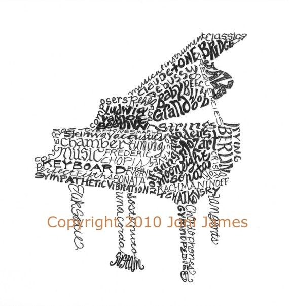 Baby Grand Piano Art Calligraphy or Calligram Print by